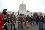 Far-right groups gathered at the Oregon Capitol on Jan. 6, to protest Congress's certification of the presidential election.