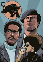 An illustrated page shows the Black Panther Party logo, and party leaders Huey P. Newton, Bobby Seale, and Kathleen Cleaver, against a blue background.