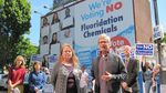 Dentist Jay Levy, organizer Kim Kaminski, and volunteers with Clean Water Portland, rally against fluoridation of Portland's drinking water in this undated photo from 2013.