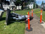 A statue of George Washington was pulled down from the lawn outside the German American Society in Northeast Portland on June 18, 2020.