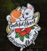 The logo of Grateful Heart has the faces of two pets who belonged to nurse DeeDee Remington and Dr. Katy Felton. Felton says Grateful Heart's logo was designed with Portland's tattoo culture in mind.