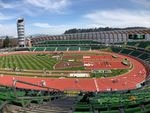 Hayward Field was sparsely populated for its first home meet. Only guests of athletes and coaches were allowed inside.