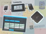 Photo illustration: Images of Cellebrite's software and hardware and Grayshift's Graykey hardware.