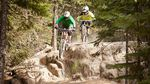 Mountain bikers ride Whistler's iconic A-line trail. The growth of mountain biking as a sport and the sucess of Whistler's flow trails has inspired Stevens Pass, Mt. Bachelor, and Timberline to pursue their own trails.