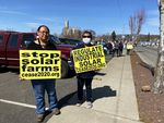 Yakama Nation members Elaine Harvey (left) and her cousin Tina Antone say new solar developments in Klickitat County will displace land where they can find three different types of roots.