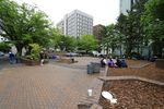 The temporary shelter at 333 SW Park Ave donated by Developer Tom Cody is near O'Bryant Square in downtown Portland.