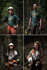 """Four images are combined into a grid of images. In each portion of the grid, a different person is depicted in a wooded area. Two people wear shirts that say """"Montana Conservation Corps"""" and two wear shirts that say """"Americorps Montana."""""""