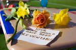 A note left on one of the 17 desks honoring victims of the Parkland, Florida, shooting.