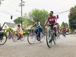 BIPOC bicyclists take part in Portland Black Liberation Ride through Portland, Ore, Friday, June 19, 2020. The ride is about celebrating Black joy by claiming space on the roads.