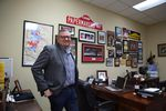 Current Camas Mayor Scott Higgins in his office, essentially a shrine to the Papermakers.