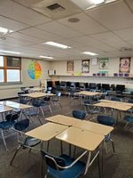 Desks in Nancy Swarat's classroom at Umatilla High School. Swarat has five students for limited in-person instruction. Each student sits at a table of four desks, to maintain distance.