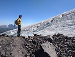Anders Carlson, the president and chief scientist of the Oregon Glaciers Institute, pictured near the terminus of Hayden Glacier on the Middle Sister in Oregon's central Cascades.