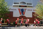 Teachers rallied outside Washougal High School on Tuesday, Aug. 28, 2018.