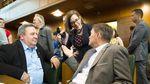 Oregon Gov. Kate Brown celebrates the end of the 2017 legislative session with members of the Legislature.