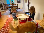 Abby Bucolo, right, eats breakfast with her brother, two-year-old Henry Bucolo, at a bed-and-breakfast in Ashland. Their parents are temporarily renting the home after their house was destroyed by the Almeda Fire.