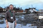 Jay Wilson, Oregon Seismic Commission Chair, surveys tsunami damage on a 2011 visit to Japan.