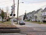 Homes next to train tracks in Gibbstown, NJ, where up to 200 rail cars a day will be allowed to carry liquefied natural gas to an export terminal.