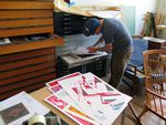 Printmaker John Goff shares his studio with two other artists.