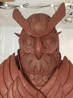 The face of the benevolent owl is ready to be covered with molding materials. Liquid bronze is then poured into the mold to form the final sculpture.