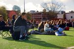 Students sit in silence for 17 minutes at Lincoln High School.