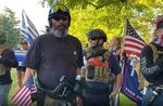 Alan Swinney, a demonstrator who has engaged in violence, appeared at a Gresham rally Aug. 26, 2020, four days after pulling a gun on demonstrators in Portland. Swinney carried a paintball gun and a handgun at the Gresham rally.