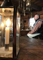 NPS Ranger Scott Irvine portrays the life of a Hudson's Bay Company steward in the kitchen of the Chief Factor's House at Fort Vancouver.