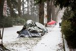 Tents gather snow during a winter storm on Saturday, Jan. 7, 2017. Of five occupants interviewed, none knew the location of warming shelters, and only one expressed interest in going.