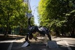 A makeshift elk statue stands between Chapman and Lownsdale squares Aug. 30, 2020, in Portland, Ore. The city removed the previous elk statue weeks prior amid nightly protests.