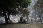 A burned house near the Riverside fire on September 14, 2020 in Estacada, Oregon. Lawmakers are considering a proposal that would use state money to transform hotels into shelter spaces for wildfire refugees and others in need.