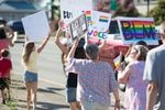 Families, staff, and community members marched in support of the LGBTQ+ community and Black Lives Matter ahead of a Newberg school board meeting Aug. 10, 2021. The school board voted to ban Black Lives Matter and pride flags.