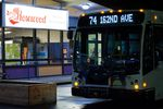 A bus for TriMet's new Line 74 service in East Portland at the ribbon-cutting ceremony Monday, March 5, 2018.