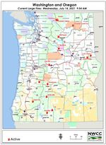 Today's large fires in Washington and Oregon.