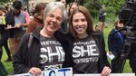 Maila Davenport and her daughter Lillia Davenport rally together in Portland, Ore., on May 21, 2019, to protest recent abortion bans in eight states.