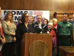 Oregon Gov. Kate Brown speaks at the state Capitol in favor of SB 797.