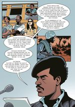 An illustrated panel of The Black Panther Party: An Illustrated History, features Bobby Seale reading the party's Executive Mandate #1 at the site of the party's Capitol protest in 1967.