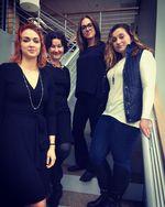 Amanda Brooks, Megan Bigelow and Kasey Tonsfeldt with OPB's April Baer