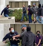 Two photos one atop the other. In the first, a group of unmasked men appears to be approaching a man outside the Oregon Capitol building, who holds a professional camera. In the second image, a man wearing a camouflaged baseball cap has grabbed the professional camera while the man holding the camera leans back.