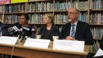 Officials address concerns about the discovery of elevated levels of arsenic, cadmium and chromium in the air of Southeast and North Portland. From left: Multnomah County Director for Public Health, Tricia Tillman; Director of the Oregon Health Authority, Lynn Saxton; and Director of Oregon Department of Environmental Quality, Dick Pederson.
