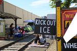 People camp along trolley tracks outside the ICE facility in Southwest Portland on June 19, 2018.