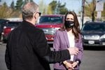 U.S. Rep. Jaime Herrera Beutler, R-Battle Ground, right, talks with County Public Health Officer Dr. Alan Melnick during an April 5, 2021, visit to Clark County. The visit was one of her first public appearances since voting to impeach former President Donald Trump.
