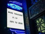 Mike Thrasher is remembered on the Hawthorne Theatre marquee in Portland, Oregon.