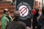 A Patriot Prayer marcher yells at members of the Satanic Portland Antifascists during a Patriot Prayer march on Sept. 15, 2019 in Portland's Pioneer Square.