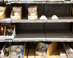 Dust masks sit on shelves at Home Depot in Clackamas, Ore., Friday, Feb. 14, 2020. The store has run low on dust masks since the coronavirus outbreak in China.