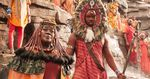 Representatives of Wakanda's mining tribe. The Maasai-inspired headdress on the warrior at the center was a last-minute creation originating from a beaded placemat, said designer Ruth E. Carter.