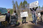 About two dozen people gathered at the Detroit Ranger Station in Detroit on April 15, 2021, protesting the post-wildfire logging along fire-impacted roads impacted by the wildfires of 2020.