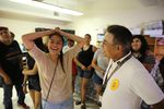 Fifteen-year-old Cajun-Rain Scott laughs before posing for a group photo of youth workers, with Confederated Tribes of Warm Springs Emergency Manager Danny Martinez on Aug. 2, 2019.