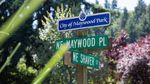 The city of Maywood Park, Ore., is made up of roughly 16 blocks of residential homes and lies entirely inside the city limits of Portland. A sign letting commuters know they're in Maywood Park is visible atop a street sign on Saturday, July 20, 2019.