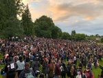Hundreds of people marched peacefully from Portland's Revolution Hall to Irving Park in one of two major protests against police brutality Saturday night.