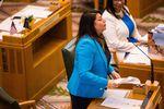 State Rep. Teresa Alonso León, D-Woodburn, in the Oregon House of Representatives, Salem, Ore., Monday, Jan. 14, 2019.