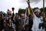 Members of the Proud Boys and other far-right demonstrators rally on Saturday, Sept. 26, 2020, in Portland, Ore.